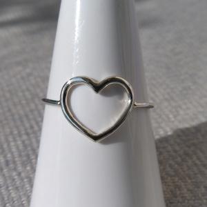 ezüst nagy szív gyűrű   - Meska.hu