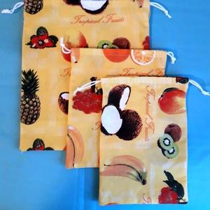 Pamutvászon déli gyümölcsös zsákok ,nejlonzacskók helyett 3db, NoWaste, Bevásárló zsákok, zacskók , Ezeket a zsákokat ,gyümölcs,dió,mogyoró,  vásárlásához, tárolásához készítettem. De bármi mást is tá..., Meska