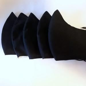 Kétrétegű 5 db  szájmaszk, Férfi & Uniszex, Maszk, Arcmaszk, Ruha & Divat, Varrás, Felnőtt méret.\nÚjra felhasználható, szabása jól igazodik az archoz.\nA gumi hosszának beállítását köv..., Meska