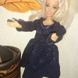 """Barbie babruha \""""Ibolya\"""", Gyerek & játék, Játék, Baba játék, Baba, babaház, Varrás, Barbie babaruha, sötétkék csipke, elegáns viselet. :-) \n, Meska"""