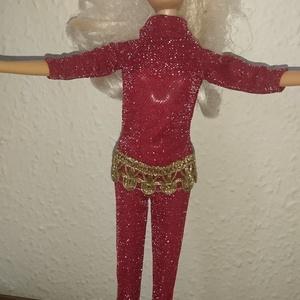 """Barbie babaruha \""""Vanessza\"""", Gyerek & játék, Játék, Baba játék, Baba, babaház, Varrás, Barbie babaruha, piros, alkalmi, arany csipke díszítéssel., Meska"""