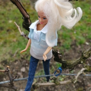 Barbie babaruha kék galléros póló  (Piselli) - Meska.hu