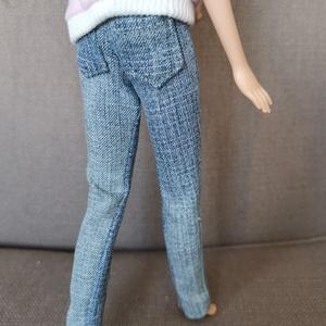 Barbie babaruha farmer nadrág, Játék & Gyerek, Baba & babaház, Babaruha, babakellék, Varrás, Igazi farmerból készült, hátul zsebekkel ellátott farmer nadrág, ami még ráadásul használható is, po..., Meska