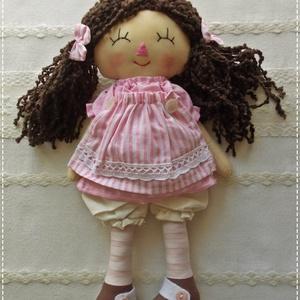 Baba- rózsaszín csíkos ruhácskában, rongybaba,kézműves baba, játékbaba, Játék & Gyerek, Baba & babaház, Baba, Baba-és bábkészítés, Varrás, 37 cm-es baba kislány. A teste a ruhája és a bugyogója is pamutvászonból készült,  A rózsaszín pötty..., Meska