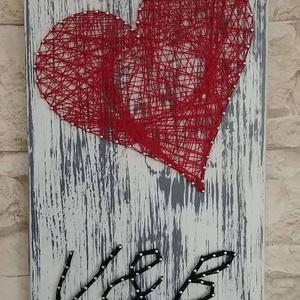 Örök szerelem - fali kép, Kép & Falikép, Dekoráció, Otthon & Lakás, Festett tárgyak, Mindenmás, Fa lapra készült string art kép. , Meska