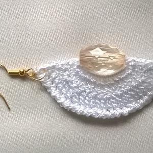 Fehér és rose - ékszer - fülbevaló - lógó fülbevaló - Meska.hu