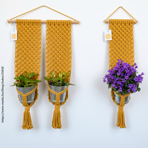 Makramé virágtartó - dupla fali makramé virágtartó