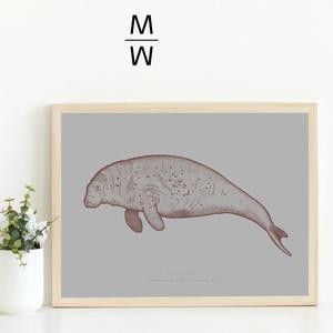 TENGERITEHÉN poszter / 'POSTHUMUS' kihalt állatok sorozat, skandináv stílusú, modern poszter nagy méretben (PixMarket) - Meska.hu