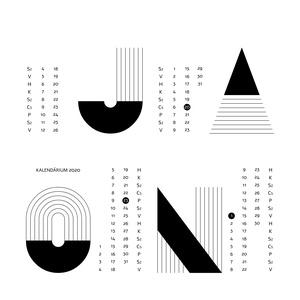 MID-CENTURY MODERN fali naptár - egyedi, skandináv stílusú, modern, minimalista poszter nagy méretben / 50 x 70 cm (PixMarket) - Meska.hu
