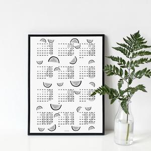 DINNYÉS naptár - egyedi, skandináv stílusú, modern, minimalista poszter nagy méretben / 50 x 70 cm (PixMarket) - Meska.hu