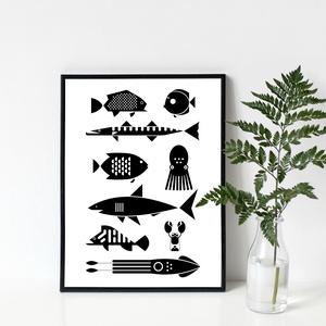 ÉLET A TENGERBEN poszter / skandináv stílusú, modern, minimalista poszter nagy méretben / 50 x 70 cm, Gyerek & játék, Gyerekszoba, Baba falikép, Otthon & lakás, Dekoráció, Kép, Lakberendezés, Fotó, grafika, rajz, illusztráció, ÉLET A TENGERBEN poszter\n\nA tenger lakói: díszes mélytengeri halak, polip, rák és még sok más különl..., Meska