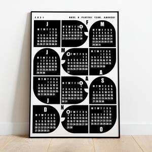 Naptár gyerekeknek / \'Négy kis kukac\' / skandináv stílusú, minimalista fali naptár, Otthon & Lakás, Dekoráció, Falinaptár & Öröknaptár, Fotó, grafika, rajz, illusztráció, Naptár gyerekeknek a 2021-es évre / \'Négy kis kukac\' / skandináv stílusú, minimalista fali naptár\n\nS..., Meska