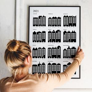Naptár poszter - \'Nagyváros\' - letisztult, minimalista, skandináv stílusú falinaptár 2021-re, Otthon & Lakás, Dekoráció, Falinaptár & Öröknaptár, Fotó, grafika, rajz, illusztráció, Naptár poszter - \'Nagyváros\' - letisztult, minimalista, skandináv stílusú falinaptár 2021-re\n\nA napt..., Meska