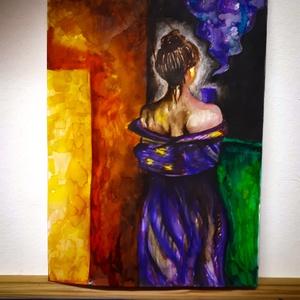 Erkélyen álló nő, Festék, Festett tárgyak, festészet, Akvarell festmény A/4es méretben. A festmény egy nőt ábrázol az erkélyen. , Alkotók boltja