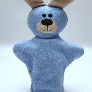 Kék nyuszis kesztyűbáb, Gyerek & játék, Játék, Báb, Baba játék, Játékfigura, Baba-és bábkészítés, Varrás, Bolyhosodásmentes micropolárból, applikációs technikával készítettem ezt a bábot. Minden alkatrészt ..., Meska