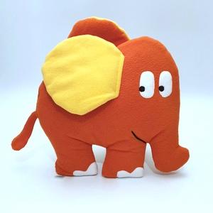 Narancssárga elefánt, Elefánt, Plüssállat & Játékfigura, Játék & Gyerek, Patchwork, foltvarrás, Varrás, Elefánt formájú párna, melyet\nbolyhosodásmentes micropolárból, applikációs technikával készítettem. ..., Meska