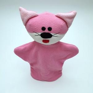 Rózsaszín cicás kesztyűbáb, Gyerek & játék, Játék, Báb, Baba játék, Játékfigura, Baba-és bábkészítés, Varrás, Bolyhosodásmentes micropolárból, applikációs technikával készítettem ezt a bábot. Minden alkatrészt ..., Meska