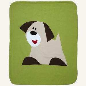Drapp kutyás takaró zöld alapon, Takaró, Lakástextil, Otthon & Lakás, Patchwork, foltvarrás, Varrás, Ezt a kisméretű takarót babák számára alkottam. Remekül használható kiságyban, gyerekkocsiban is. Bo..., Meska