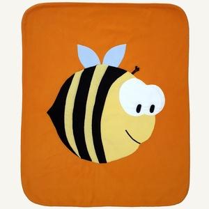 Méhecskés takaró narancssárga alapon, Gyerek & játék, Gyerekszoba, Falvédő, takaró, Baba-mama kellék, Otthon & lakás, Lakberendezés, Lakástextil, Takaró, ágytakaró, Patchwork, foltvarrás, Varrás, Ezt a kisméretű takarót babák számára alkottam. Remekül használható kiságyban, gyerekkocsiban is. Bo..., Meska