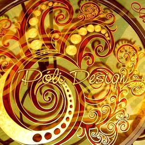 Asztal - festett üveg asztallap kovácsoltvas lábbal, Esküvő, Otthon & lakás, Bútor, Asztal, Festett tárgyak, Üvegművészet, Saját tervezésű mintavilág alapján, egyedi, kézzel festett üveg asztallap. Narancs-piros-arany, de m..., Meska
