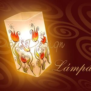 Asztali lámpa - Tulipános - festett üveg elektromos asztali lámpa, Otthon & Lakás, Lámpa, Asztali lámpa, Festett tárgyak, Üvegművészet, Saját tervezésű mintavilág, egyedi, kézzel festett üveg, elektromos asztali lámpa tulipánokkal. 21cm..., Meska
