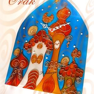 Óra - Házak - festett üveg falióra, Otthon & Lakás, Dekoráció, Falióra & óra, Festészet, Üvegművészet, Saját tervezésű mintavilág, egyedi, kézzel festett üveg óra, 33cm magas, 13.900Ft/db + szállítási kö..., Meska
