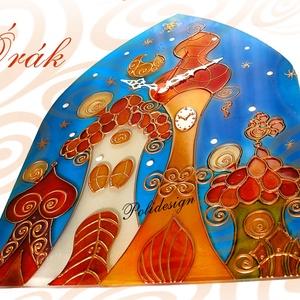 Óra - festett üveg kisházas falióra (polidesign) - Meska.hu
