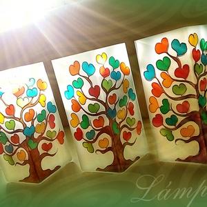 Lámpa - festett üveg éltfás asztali lámpa ballagásra, a gyerekek neveivel, Otthon & lakás, Lakberendezés, Lámpa, Asztali lámpa, Festett tárgyak, Saját tervezésű mintavilág alapján, egyedi, kézzel festett üveg lámpa. 21cm magas elektromos asztali..., Meska