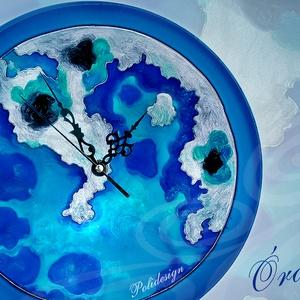 Óra - Földrész - festett üveg földrész falióra - Olasz tengerpart, Otthon & Lakás, Dekoráció, Falióra & óra, Üvegművészet, Festészet, A termékek általában megrendelésre készülnek! Saját tervezésű mintavilág, egyedi, kézzel festett üve..., Meska