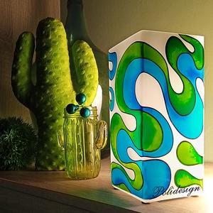 Lámpa - Kék-zöld Szerpentin - festett üveg elektromos asztali lámpa, Otthon & Lakás, Lámpa, Asztali lámpa, Üvegművészet, Mindenmás, Saját tervezésű mintavilág alapján, egyedi, kézzel festett üveg, elektromos asztali lámpa, más színe..., Meska