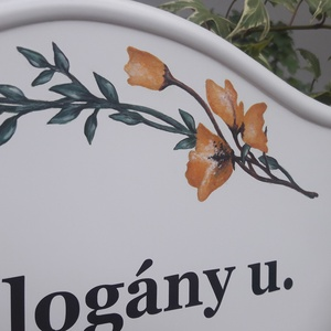 Házszám/utca tábla sárga virág mintával (pollakdekor) - Meska.hu