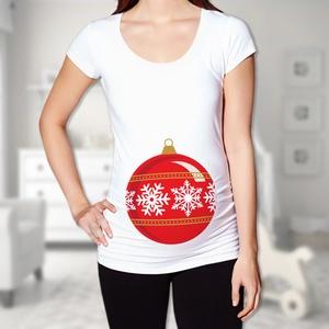 Karácsonyi díszgömb kismama póló - több színben, Gyerek & játék, Táska, Divat & Szépség, Ruha, divat, Női ruha, Póló, felsőrész, Mindenmás, Babát vársz?\nIgazi karácsonyi design, egyedi kismama póló, 100% pamut anyagból.\n\nA póló fazonja nem ..., Meska
