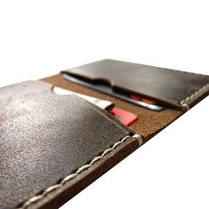 Kétrekeszes bőr kártyatartó - Sötétbarna rusztikus marhabőr - Vékony férfi tárca - Marsabit - Polokov Leather (Polokov) - Meska.hu