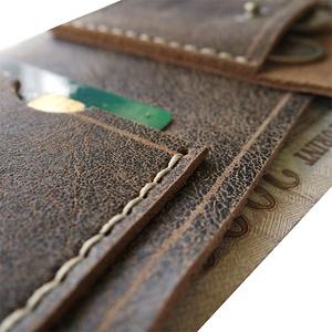 Bőr pénztárca kártyatartóval aprótartóval - Sötétbarna rusztikus marhabőr - Férfi tárca - Marsabit - Polokov Leather (Polokov) - Meska.hu