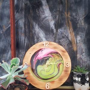 Fluid art fali óra, Otthon & Lakás, Falióra & óra, Dekoráció, Festészet, Famegmunkálás, Meska