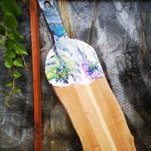 Fluid art absztrakt vágódeszka , Otthon & lakás, Konyhafelszerelés, Vágódeszka, Képzőművészet, Vegyes technika, Festett tárgyak, Famegmunkálás, Akril folyatással és üveg gyanta borítással készült, színes vágódeszka. 67 cm x 19 cm fenyő és csere..., Meska