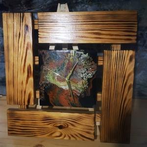 Nagy fluidart falióra fa kerettel, Otthon & Lakás, Dekoráció, Falióra & óra, Festett tárgyak, Famegmunkálás, Meska