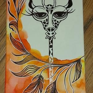 A komoly zsiráf  - művészet - festmény - festmény vegyes technika - Meska.hu