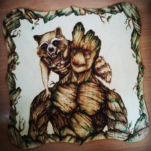 Groot pirográf kép , Kép & Falikép, Dekoráció, Otthon & Lakás, Gravírozás, pirográfia, 28*28-as nyírfa lemez, pirográf technikával készült, Akril festékkel színezve, Meska