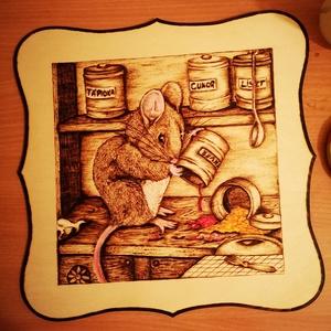 Beatrix Potter meséje alapján , Táblakép, Dekoráció, Otthon & Lakás, Festett tárgyak, Gravírozás, pirográfia, 28*28-as kerekített sarkú nyírfa lemezre égetett kép akrillal színezve, Beatrix Potter mesék kedvelő..., Meska