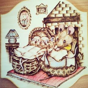 Beatrix Potter meséje alapján , Kép & Falikép, Dekoráció, Otthon & Lakás, Gravírozás, pirográfia, Festészet, 20*17,5-es nyírfa lapra égetett kép akrillal színezve\nBeatrix Potter meséje alapján készült , Meska