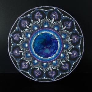 Pontozott mandala - Portal Space, Otthon & Lakás, Dekoráció, Mandala, Festészet, Két technika különleges fúziójával keletkezett ez a csodás mandala: alkoholtinta és pontfestés egymá..., Meska