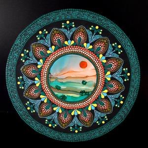 Pontozott mandala - Portal Landscape, Otthon & Lakás, Dekoráció, Mandala, Festészet, Két technika különleges fúziójával keletkezett ez a csodás mandala: alkoholtinta és pontfestés egymá..., Meska
