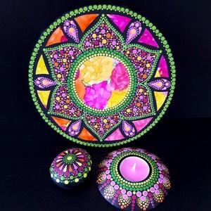 Pontozott mandala - Rose window, mécsestartóval és mandalakővel, Otthon & Lakás, Dekoráció, Mandala, Festészet, Két technika különleges fúziójával keletkezett ez a csodás mandala: alkoholtinta és pontfestés egymá..., Meska