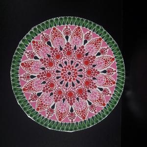 Pontozott mandala - Dinnye, Otthon & Lakás, Dekoráció, Mandala, Festészet, Ha neked is kedvenc gyümölcsöd a dinnye, imádni fogod ezt a vidám kis mandalát.\nEgyedi és megismétel..., Meska