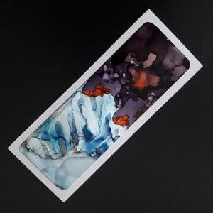 Könyvjelző absztrakt kék-barna-1 (alkoholtinta), Otthon & Lakás, Papír írószer, Könyvjelző, Festészet, Lépj be te is az alkoholtinták varázslatos, csupaszín világába, merülj el a megismételhetetlen formá..., Meska