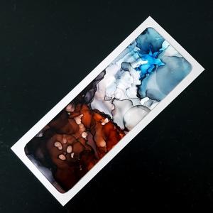 Könyvjelző absztrakt kék-barna-4 (alkoholtinta), Otthon & Lakás, Papír írószer, Könyvjelző, Festészet, Lépj be te is az alkoholtinták varázslatos, csupaszín világába, merülj el a megismételhetetlen formá..., Meska