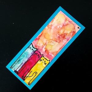 Könyvjelző absztrakt cicás (alkoholtinta), Otthon & Lakás, Papír írószer, Könyvjelző, Festészet, Lépj be te is az alkoholtinták varázslatos, csupaszín világába, merülj el a megismételhetetlen formá..., Meska