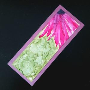 Könyvjelző pink virágos (alkoholtinta), Otthon & Lakás, Papír írószer, Könyvjelző, Festészet, Lépj be te is az alkoholtinták varázslatos, csupaszín világába, merülj el a megismételhetetlen formá..., Meska