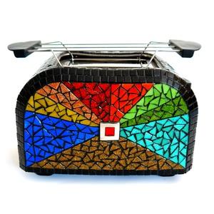 REKREDENC - mozaikkal díszített kenyérpirító , Sütő- és főzőedény, Konyhafelszerelés, Otthon & Lakás, Üvegművészet, \n\nMozaik technikával kicsinosított vadonatúj kenyérpirító, melegen tartó tálcával. Egyedi, dekoratív..., Meska